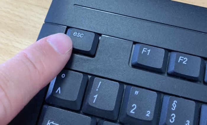 Escape key on a keyboard